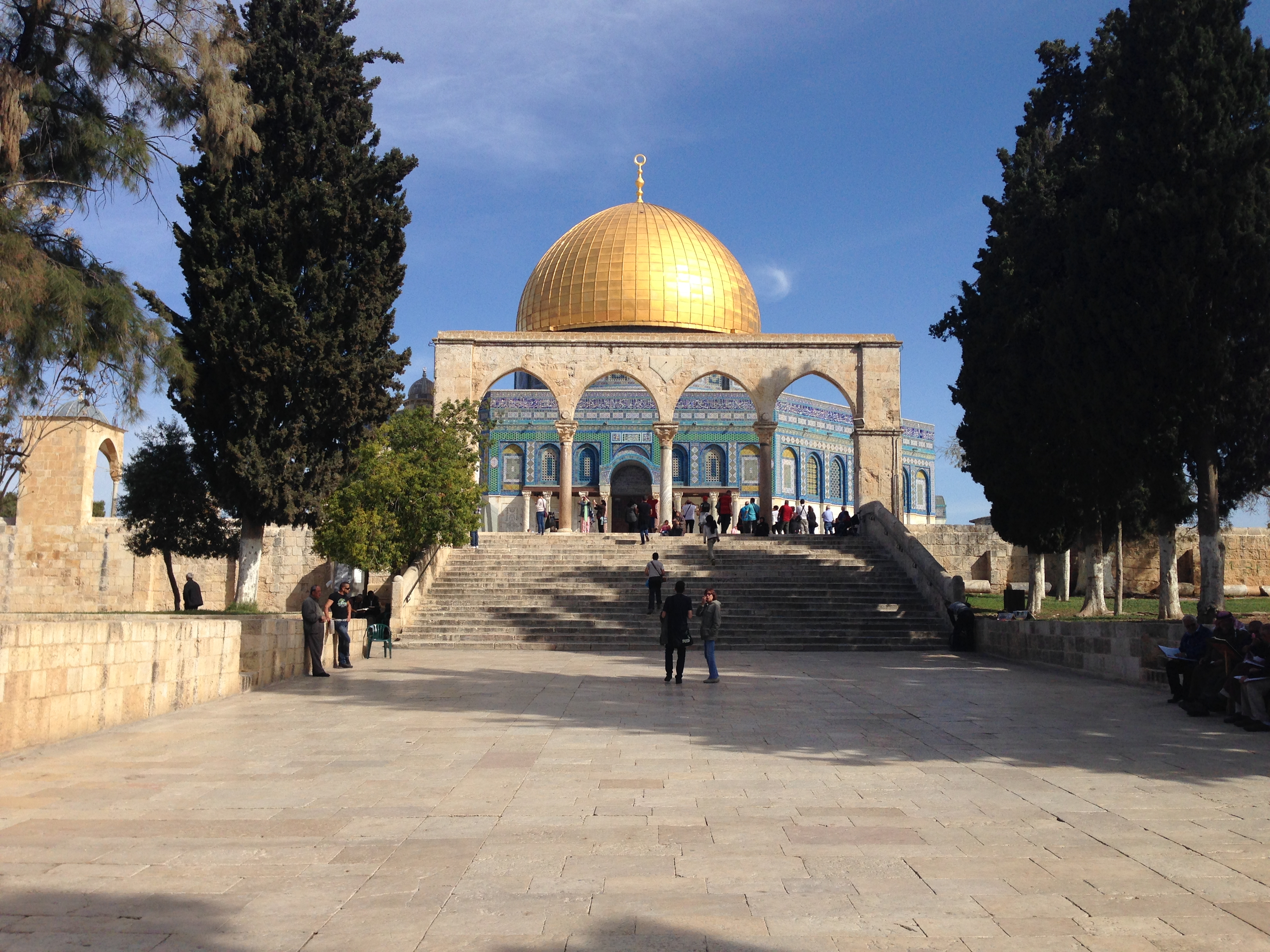 The Dome of the Rock is a Moslem mosque that sits on the historic site of the Jewish temple in Jerusalem